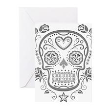 Gray Sugar Skull with Roses Greeting Cards