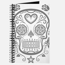 Gray Sugar Skull with Roses Journal