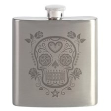 Gray Sugar Skull with Roses Flask
