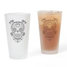 Gray Sugar Skull with Roses Drinking Glass