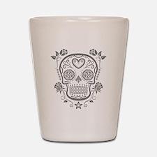 Gray Sugar Skull with Roses Shot Glass