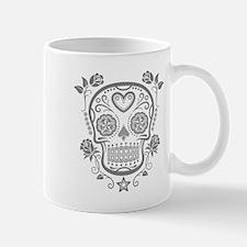 Gray Sugar Skull with Roses Mugs