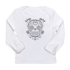 Gray Sugar Skull with Roses Long Sleeve T-Shirt