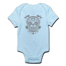 Gray Sugar Skull with Roses Body Suit