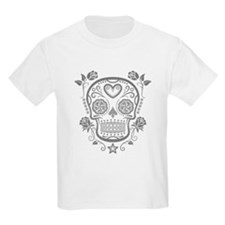 Gray Sugar Skull with Roses T-Shirt