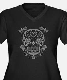Gray Sugar Skull with Roses Plus Size T-Shirt