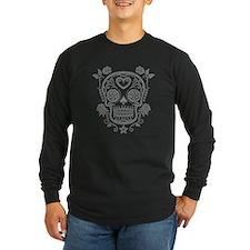 Gray Sugar Skull with Roses Long Sleeve T-Shirt