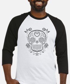 Gray Sugar Skull with Roses Baseball Jersey