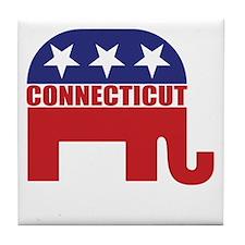 Connecticut Republican Elephant Tile Coaster