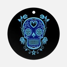 Blue Sugar Skull with Roses on Black Ornament (Rou