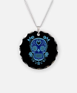 Blue Sugar Skull with Roses on Black Necklace