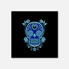 Blue Sugar Skull with Roses on Black Sticker