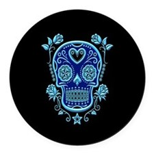 Blue Sugar Skull with Roses on Black Round Car Mag