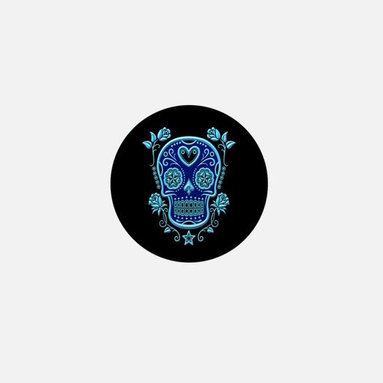 Blue Sugar Skull with Roses on Black Mini Button