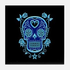 Blue Sugar Skull with Roses on Black Tile Coaster