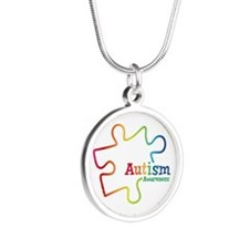 Rainbow Gradient Autism Silver Round Necklace