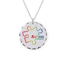 Rainbow Gradient Autism Necklace Circle Charm