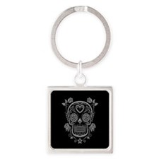 Gray Sugar Skull with Roses on Black Keychains
