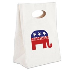 Kansas Republican Elephant Canvas Lunch Tote