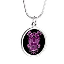 Pink Sugar Skull with Roses on Black Necklaces