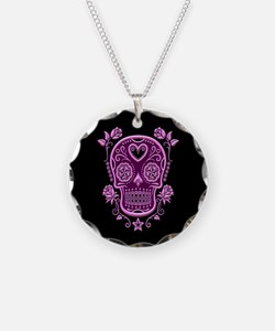 Pink Sugar Skull with Roses on Black Necklace