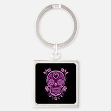 Pink Sugar Skull with Roses on Black Keychains