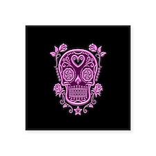 Pink Sugar Skull with Roses on Black Sticker