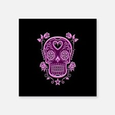 Pink Sugar Skull with Roses on Black Sticker