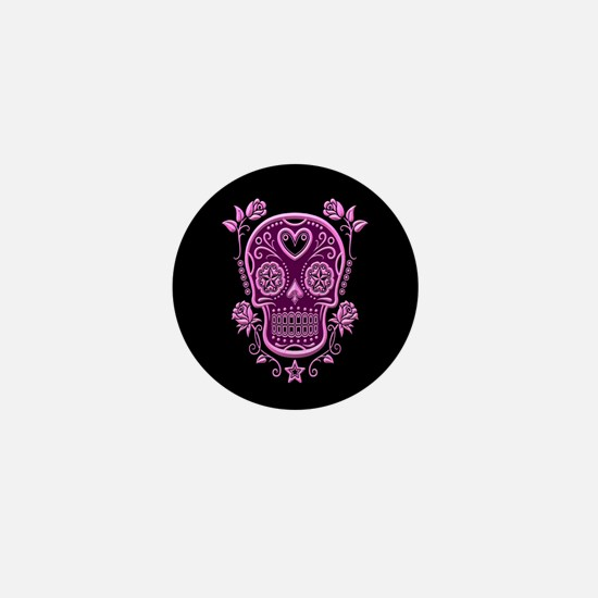 Pink Sugar Skull with Roses on Black Mini Button