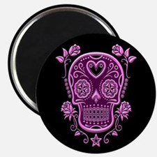 Pink Sugar Skull with Roses on Black Magnets