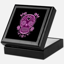 Pink Sugar Skull with Roses on Black Keepsake Box
