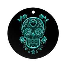 Teal Blue Sugar Skull with Roses on Black Ornament