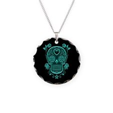 Teal Blue Sugar Skull with Roses on Black Necklace