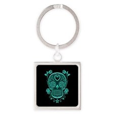 Teal Blue Sugar Skull with Roses on Black Keychain