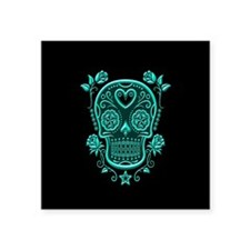 Teal Blue Sugar Skull with Roses on Black Sticker