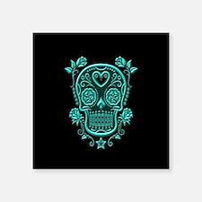 Teal Blue Sugar Skull with Roses on Black Sticker