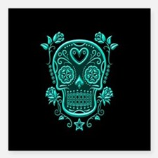 Teal Blue Sugar Skull with Roses on Black Square C