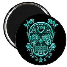 Teal Blue Sugar Skull with Roses on Black Magnets