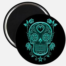 Teal Blue Sugar Skull with Roses on Black Magnets