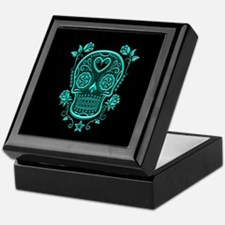 Teal Blue Sugar Skull with Roses on Black Keepsake