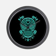 Teal Blue Sugar Skull with Roses on Black Wall Clo