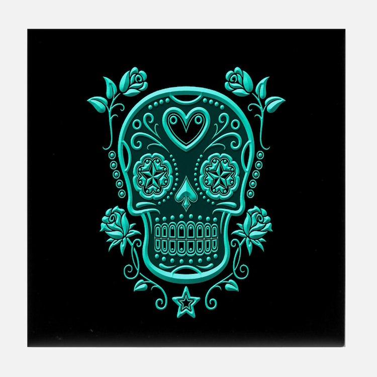 Teal Blue Sugar Skull with Roses on Black Tile Coa