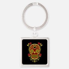 Red and Yellow Sugar Skull with Roses on Black Key
