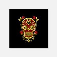 Red and Yellow Sugar Skull with Roses on Black Sti