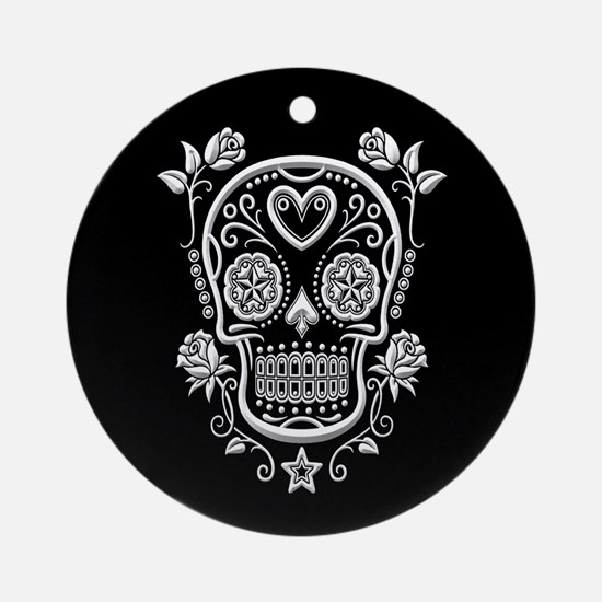 White Sugar Skull with Roses on Black Ornament (Ro