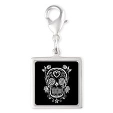White Sugar Skull with Roses on Black Charms