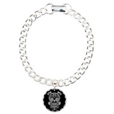 White Sugar Skull with Roses on Black Bracelet