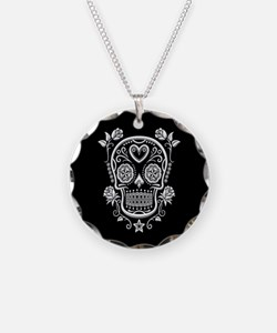 White Sugar Skull with Roses on Black Necklace