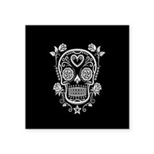 White Sugar Skull with Roses on Black Sticker