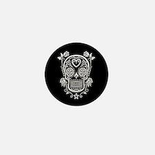 White Sugar Skull with Roses on Black Mini Button